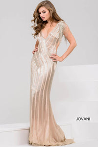 Nude and Silver Beaded Open Back Jovani Dress 40900 - Elbisny