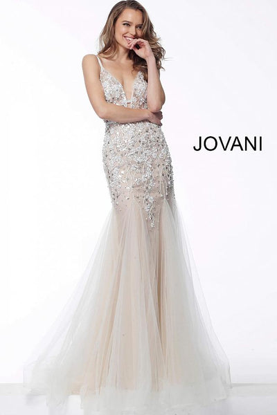 Nude Plunging Neckline Beaded Evening Jovani Dress 65325 - Elbisny