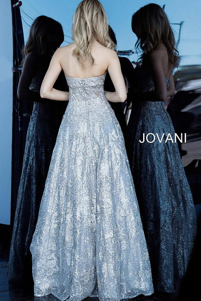 Platinum Strapless Embroidered A Line Evening Jovani Dress 60815 - Elbisny