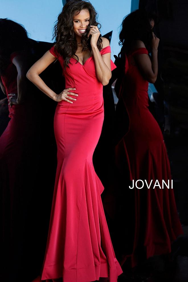 Red Off the Shoulder Ruffle Back Evening Jovani Dress 61091 - Elbisny