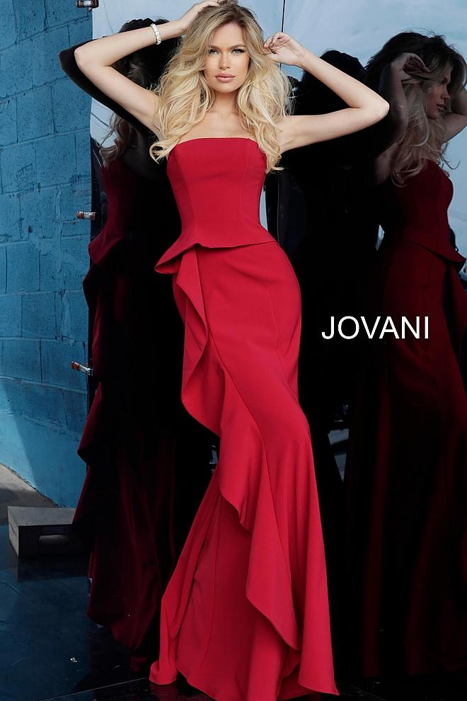 Red Strapless Straight Neck Evening Jovani Dress 68766 - Elbisny
