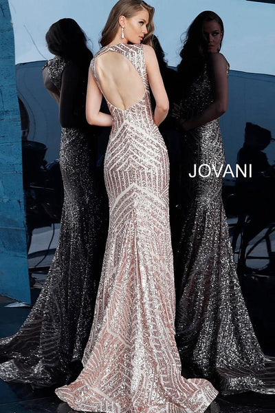Rose Gold Fitted Sleeveless Sequin Prom Jovani Dress 64807 - Elbisny