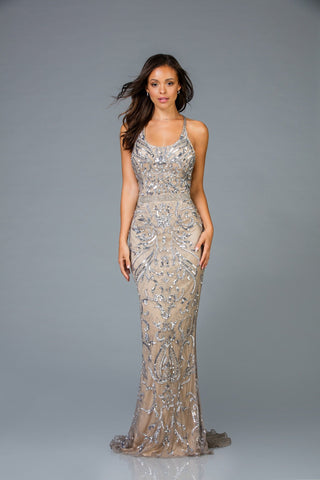 Scala Fitted Beaded Dress 48936 - Elbisny