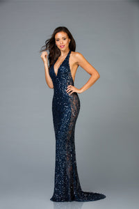 Scala Halter Top Fitted Dress 48959 - Elbisny