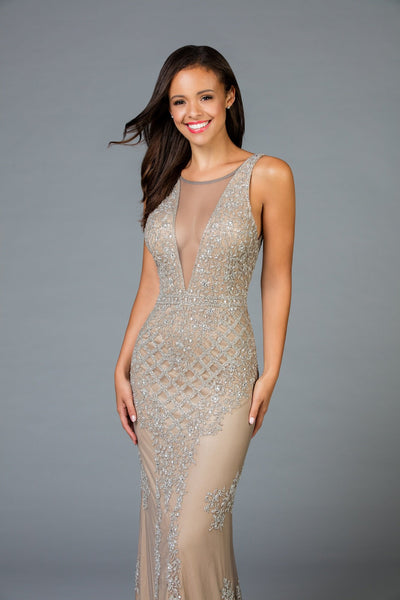 Scala Long Sequins Dress 48787 - Elbisny