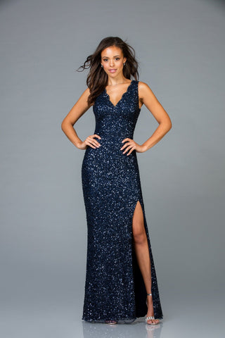 Scala Long Sequins Dress 48933 - Elbisny
