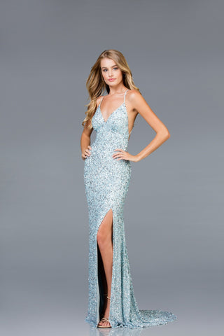 Scala Long Sequins Dress 48938 - Elbisny