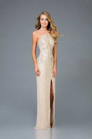 Scala Long Sequins Dress 48940 - Elbisny