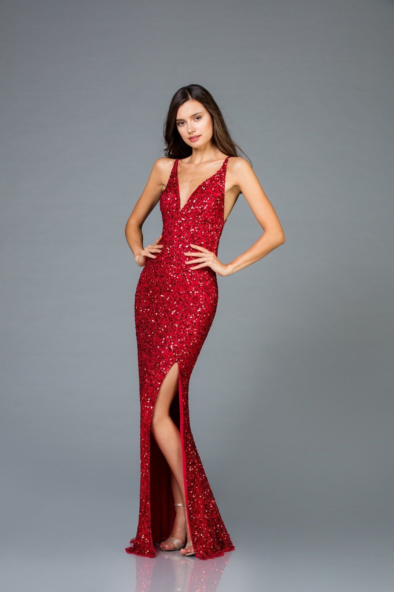 Scala Long Sequins Dress 48949 - Elbisny