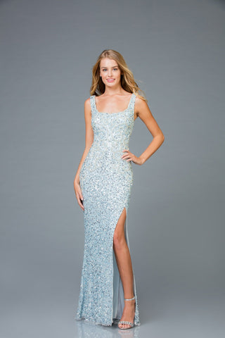 Scala Long Sequins Dress 48961 - Elbisny