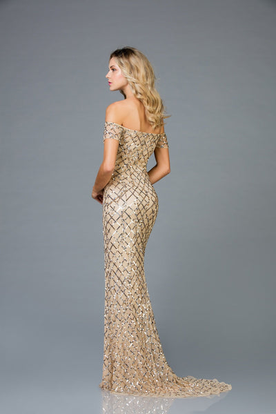 Scala Off The Shoulder Sequins Dress 48945 - Elbisny