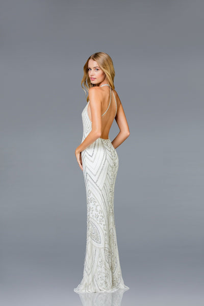 Scala Open Back Beaded Dress 48793 - Elbisny