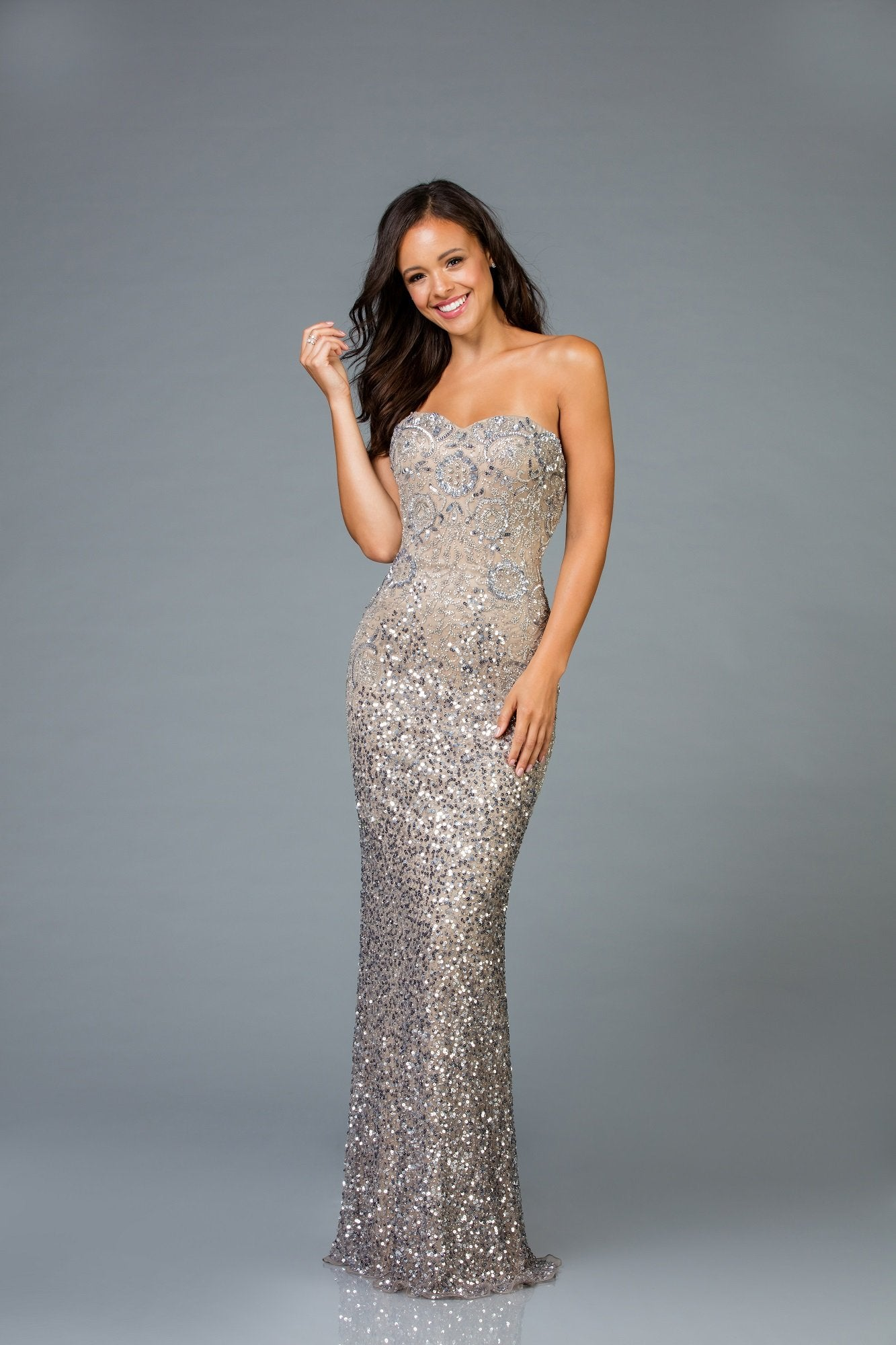 Scala Strapless Sequins Dress 48942 - Elbisny