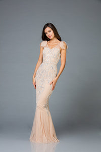 Scala V- Neckline Beaded Dress 48943 - Elbisny