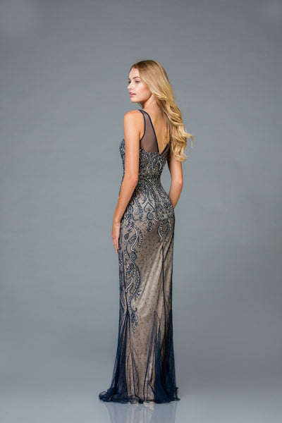Scala V- Neckline Beaded Dress 48943