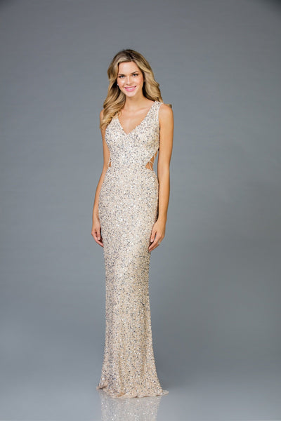 Scala V- Neckline Sequins Dress 48962