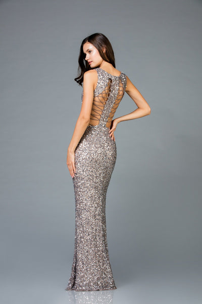 Scala V- Neckline Sequins Dress 48962 - Elbisny