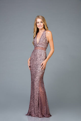 Scala V- Neckline Sequins Dress 48983 - Elbisny