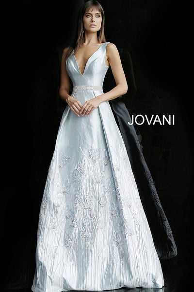 Silver A Line Sleeveless V Neck Evening Jovani Dress 62767 - Elbisny