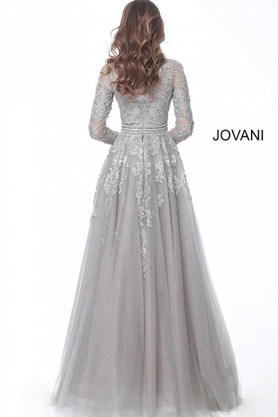 Silver High Neck Long Sleeve Embroidered Evening Jovani Dress 62777 - Elbisny
