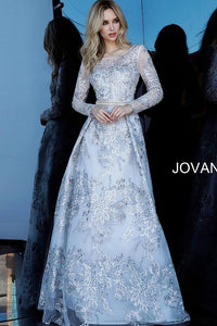 Silver Long Sleeves Embroidered Evening Jovani Gown 66875 - Elbisny