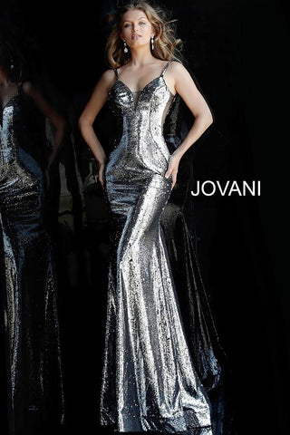 Silver Multi Sequin Plunging Neckline Evening Jovani Dress 61398