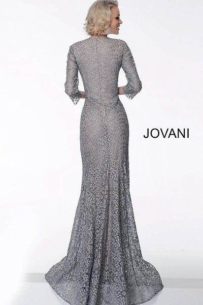 Silver Nude Three Quarter Sleeve Evening Jovani Dress 63801 - Elbisny