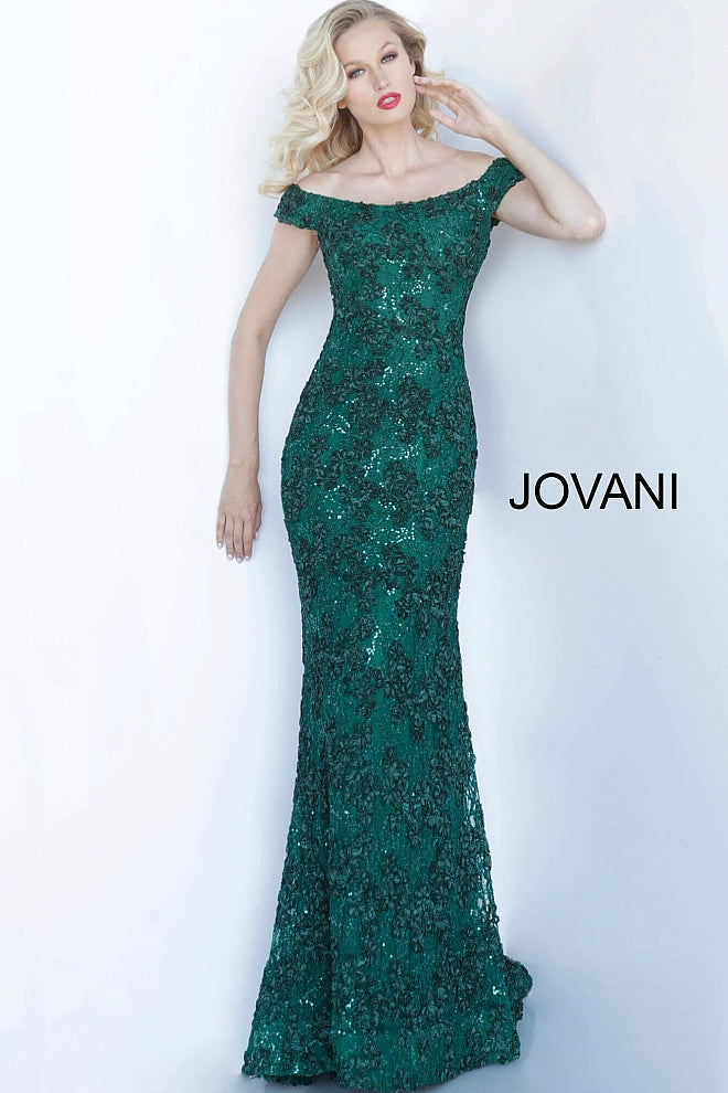 Emerald Off the Shoulder Fitted Evening Jovani Dress 1910 - Elbisny