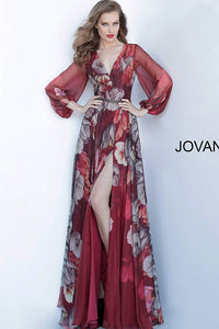Purple Multi Floral Long Sleeve Evening Jovani Gown 2024 - Elbisny