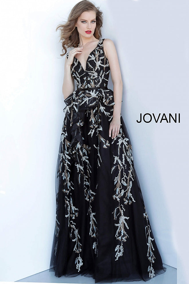 Black Multi Embellished V Neck Evening Jovani Dress 2040 - Elbisny