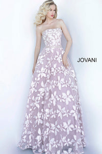 Pink Ivory Embroidered Strapless Jovani Gown 2049 - Elbisny
