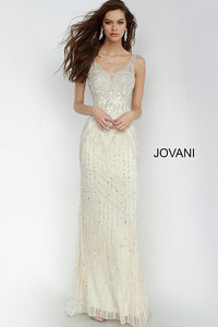 Champagne Fitted Embellished Sleeveless Jovani Dress 2468 - Elbisny