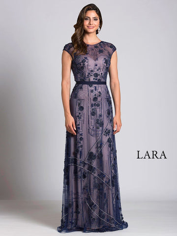 Lara 33525 - Sweetheart Neck Navy Dress - Elbisny