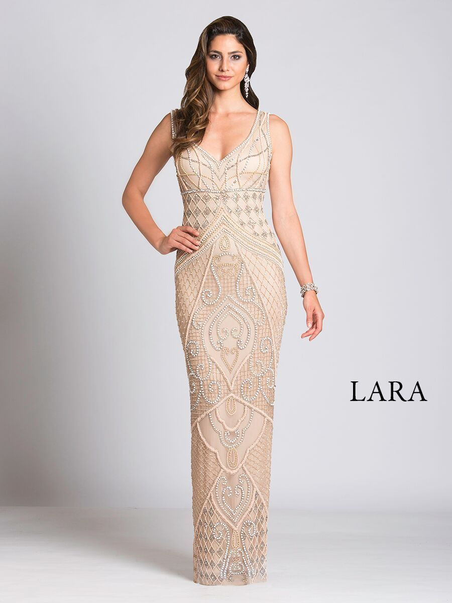 Lara 33549 - Nude Plunging Neckline Dress - Elbisny