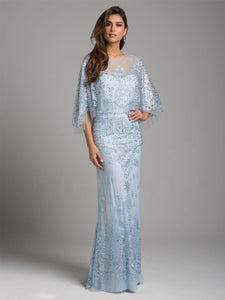 Lara 33623 - Cape Sleeve Lace Gown - Elbisny