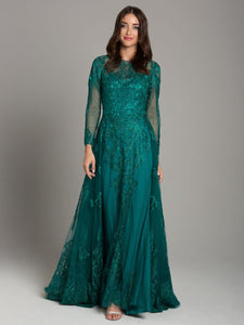 Lara 33626 - Lace High Neck Long Sleeve Gown in Green