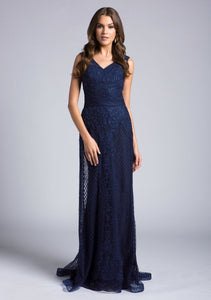 Lara 33628 - V Neck Beaded Lace Sheath Gown - Elbisny