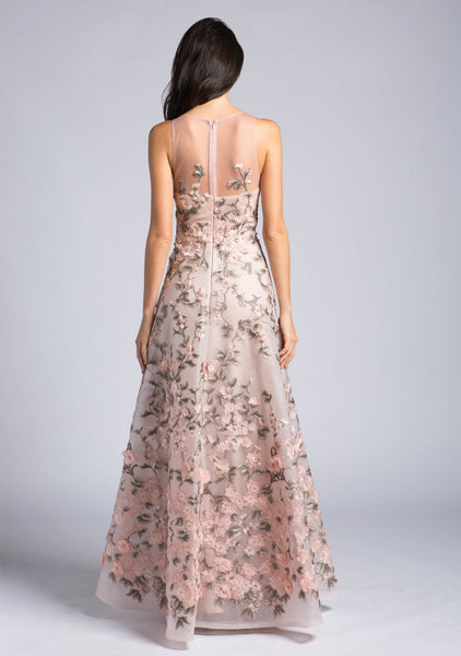 Lara 33629 - Illusion Neck Floral Ball Gown - Elbisny
