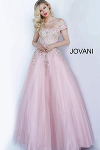 Blush Off the Shoulder Embroidered Evening Jovani Gown 3929 - Elbisny