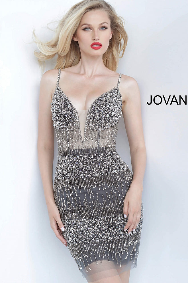 Charcoal Plunging Neckline Backless Cocktail Jovani Dress 3936 - Elbisny