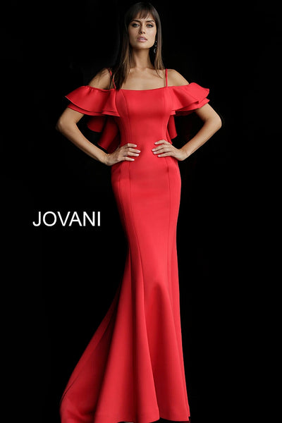 Off the Shoulder Ruffle Back Scuba Evening Jovani Dress 57925 - Elbisny