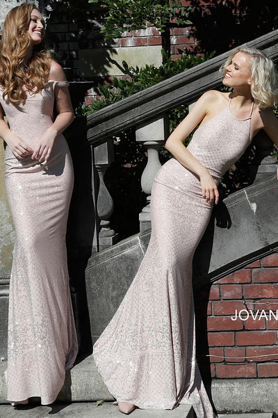 Blush Off the Shoulder Sweetheart Prom Dress JVN60139 - Elbisny