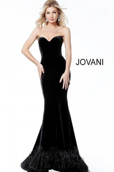 Black Velvet Plunging Neck Feather Bottom Evening Jovani Dress 60512 - Elbisny