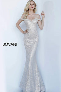 Silver Nude Off the Shoulder Embellished Prom Jovani Dress 62300 - Elbisny