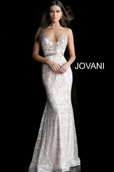 Rose Gold Mermaid Embellished Jovani Dress 62517 - Elbisny