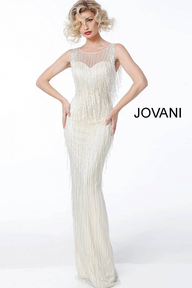 Champagne Sleeveless Fringe Evening Jovani Dress 62678 - Elbisny