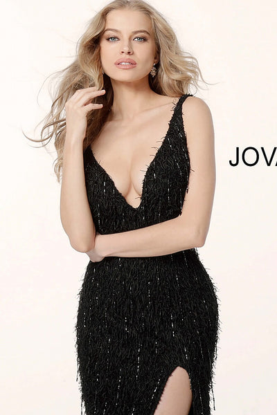 Black Fitted High Slit Feather Evening Jovani Dress 63450