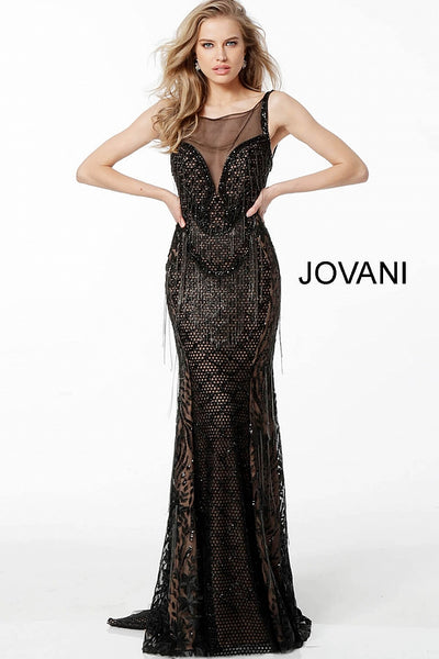 Black Embellished Sheer Neckline Evening Jovani Dress 66000 - Elbisny