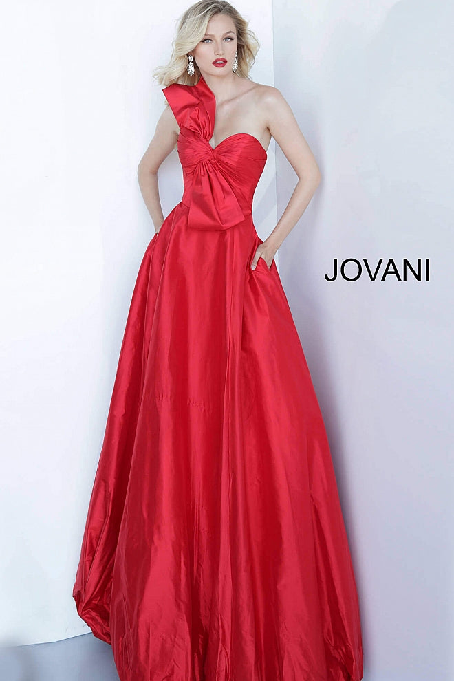 Red Strapless Pleated Bodice Evening Jovani Ballgown 66320 - Elbisny