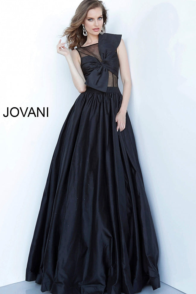 Black Pleated Skirt Sleeveless Evening Jovani Gown 66360 - Elbisny